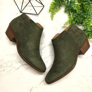Olive Green Suede Women's Ankle Booties w/ Heels